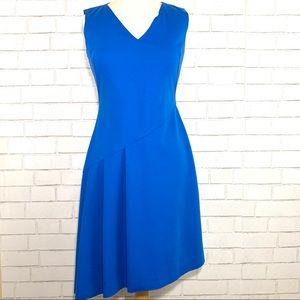 Tahari Jensen Asymmetrical Pleated Dress